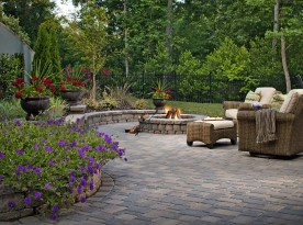Backyard patio with firepit