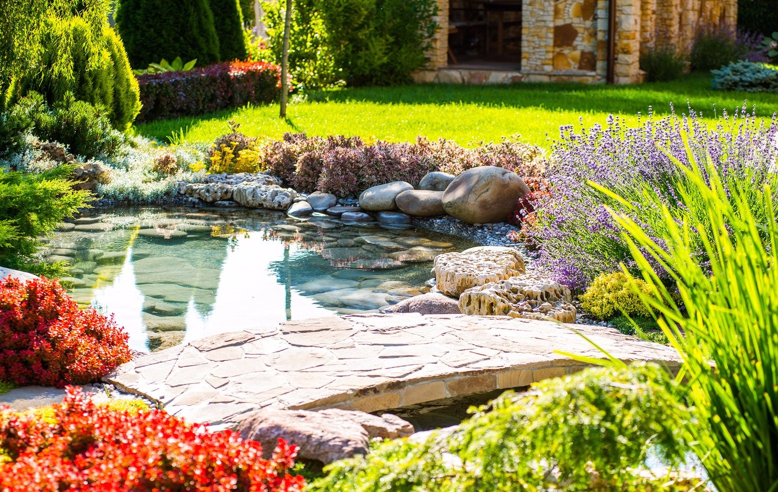 Landscape Pond with natural stone